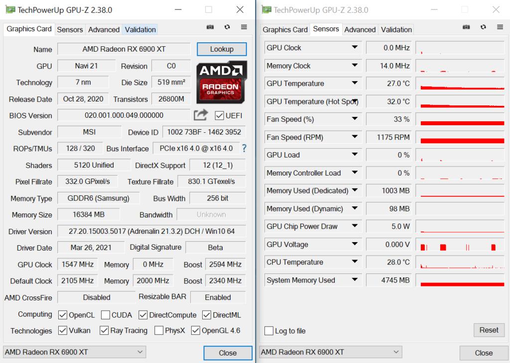 《 GPU-Z 》顯示 Boost 及 Game Clock 分別為 2,340MHz 及 2,105MHz,分別較 AMD 公版的 2,250MHz 及 2,015MHz 高。