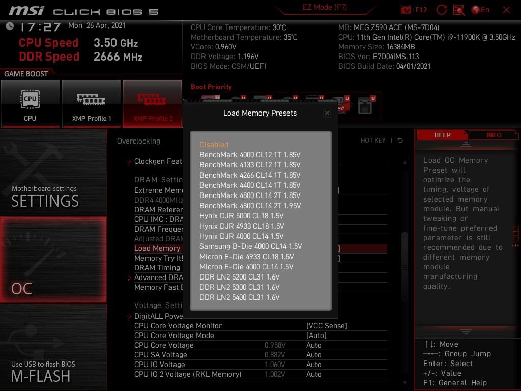 提供多組 DDR4 OC 選項,方便用家超頻。