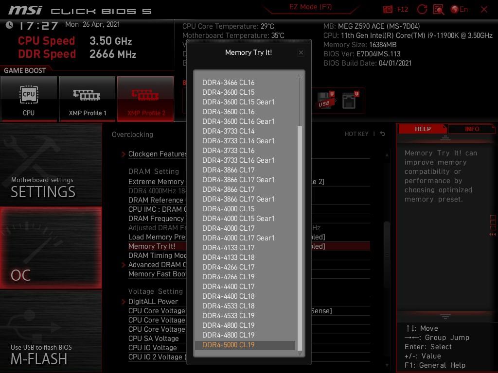 如果想最大超頻 DDR4 的話,可以嘗試 Memory Try it! 選項。