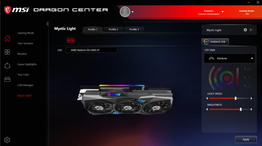 可在 Mystic Light 設定選擇燈效變化及速度