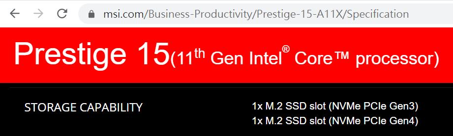 規格表明有兩組 M.2 SSD 插槽,包括 1 組 Gen4 規格的快槽。