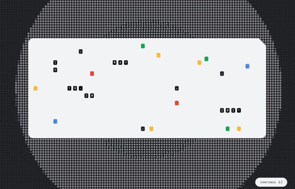 解開 10 條謎題後就會顯示載有 Google I/O 日期的打孔卡動畫。
