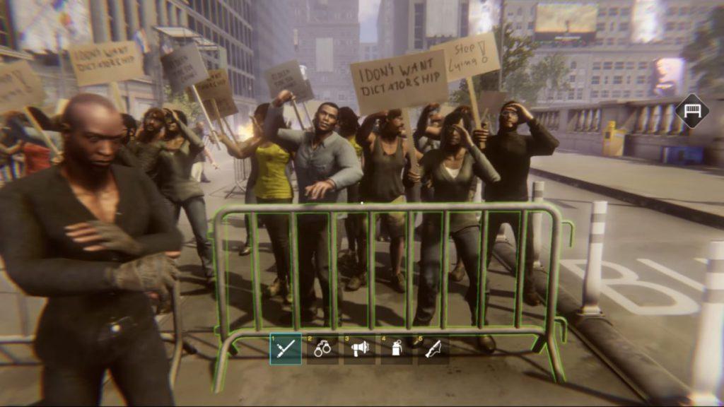 未演變成暴亂前,先用鐵馬阻隔示威者。