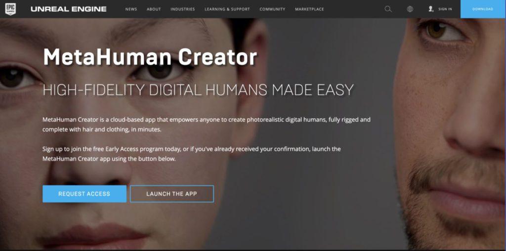 MetaHuman Creator 開始接受申請搶先測試。