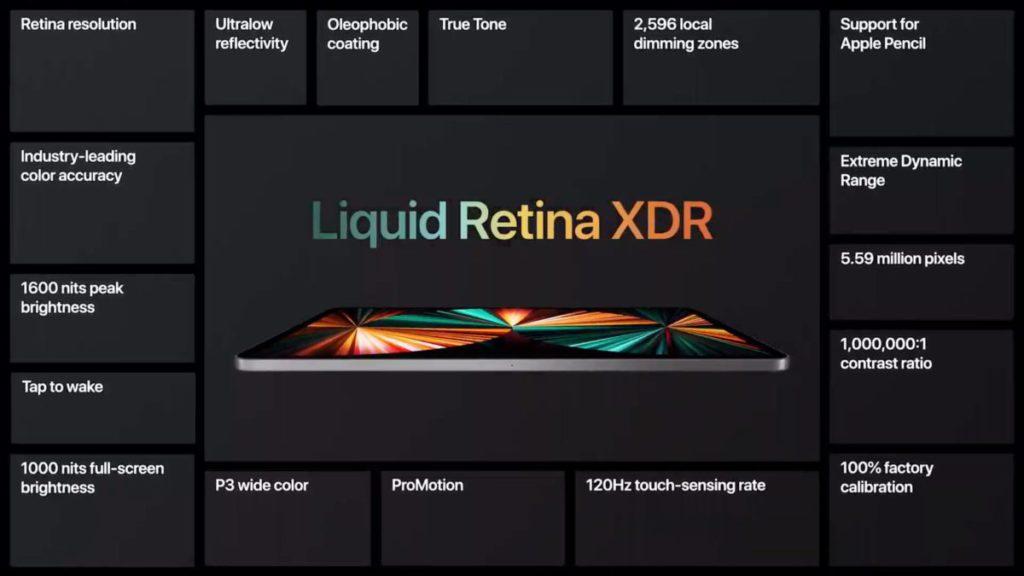 運用 mini LED 背光技術的  Liquid Retina XDR 顯示器提供 1000 尼特全屏幕亮度,對比度達 1,000,000:1 ,可以說是流動裝置屏幕的頂級之作。