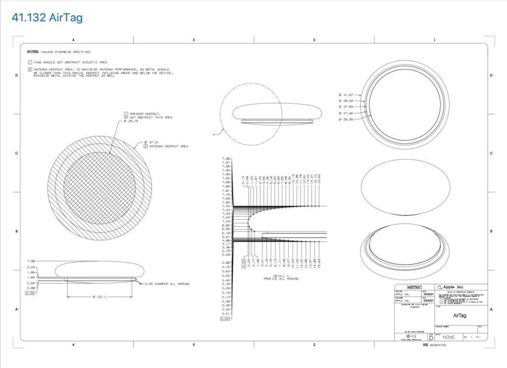 Apple 設備配件設計凖則文件加入了有關 AirTag 的工程圖,除了顯示 AirTag 本身的尺寸和外殼弧度外,還標示了 AirTag 兩個保留區範圍。