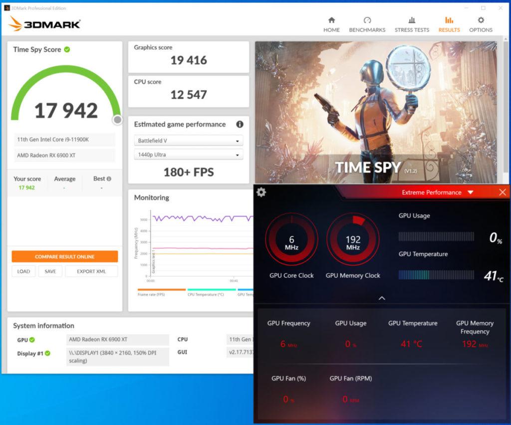 《 3D Mark Time Spy 》@SAM 測試得分增至 17,942 分