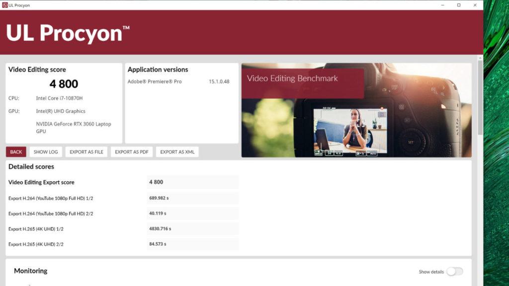 在 Adobe Video Editing 測試中,也有 4,800 分得分,也屬於貼近 Desktop 電腦的成績。