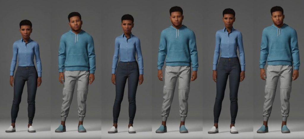角色可以選擇不同身形,並且已經綁定完整體架,又有又款服裝可選,可以直接匯入 Unreal 遊戲引擎或 3D 軟件進行進一步編輯。