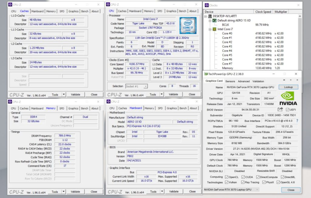 Tiger Lake-H45 TDP 介乎 35~45W 之間,測試的 Core i7-11800H 便選擇了 45W TDP 設定。
