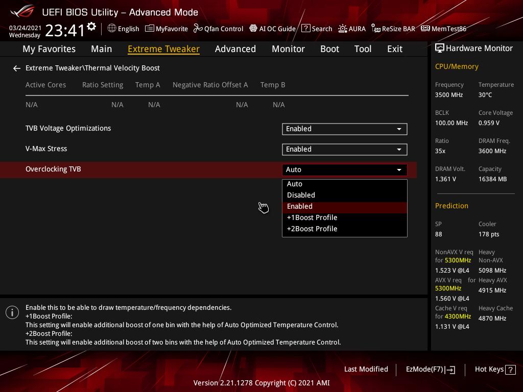 提 供 一 些 特 別的超頻選項, 如「Overclocking TVB」的+1/2Boost Profile等等。
