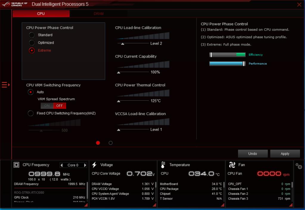 可在《ASUS AI Suite 3》程式內調校CPU Power Phase Control 之 性能。