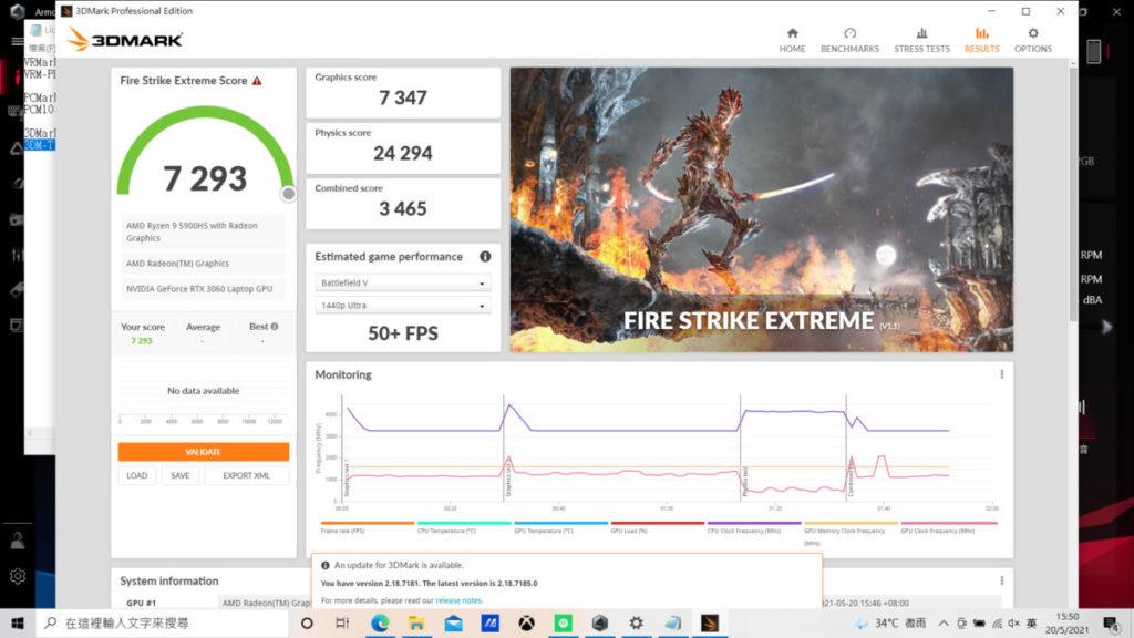3DMark Fire Strike Extreme測試得分為7,293分,在3A級大作中可使用中或中高階設定遊玩,遊戲暢順度絕不成問題。