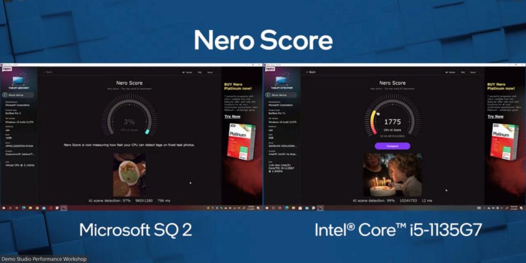 Intel 表示 11 代 Core 有出色的 AI 性能,當 Core i5-1135G7 以 1,775 分完成 Nero Score 測試, ARM 僅完成 3% 。