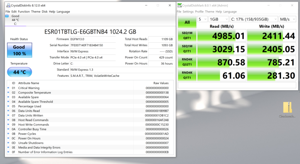 Core i7-11800H 筆電平台所用的 Gen4 NVMe SSD 工作溫度為 44 ℃,並不算高。