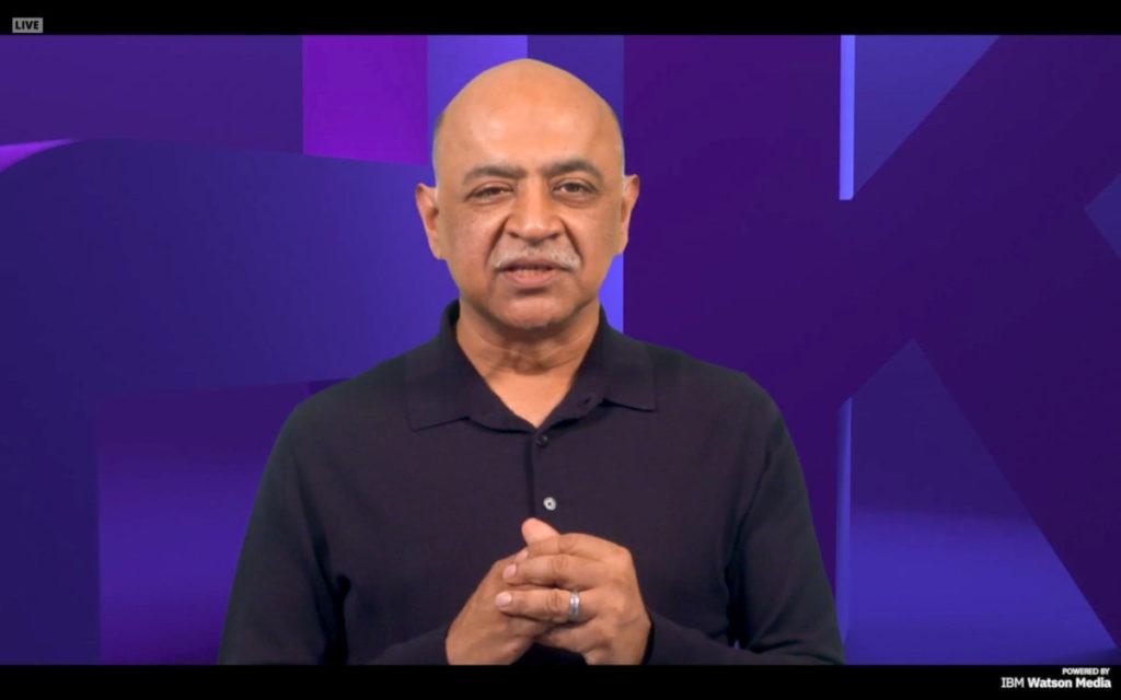 Arvind Krishna 用預錄影片發表在 IBM Think 2021 大會主題演講。