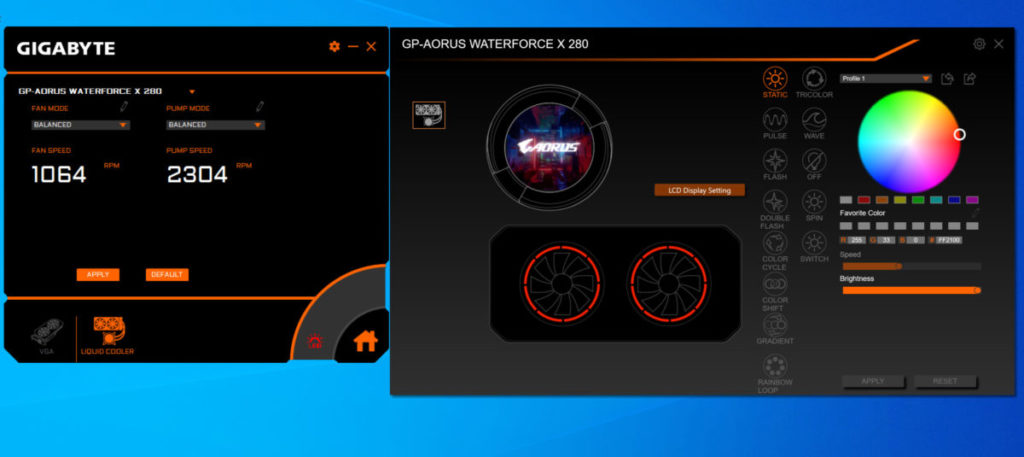可分別於 《 RGB FUSION 2.0 》 及 《 AORUS ENGINE 》 程式設定 LCD 螢幕內容,以及風扇速度等。
