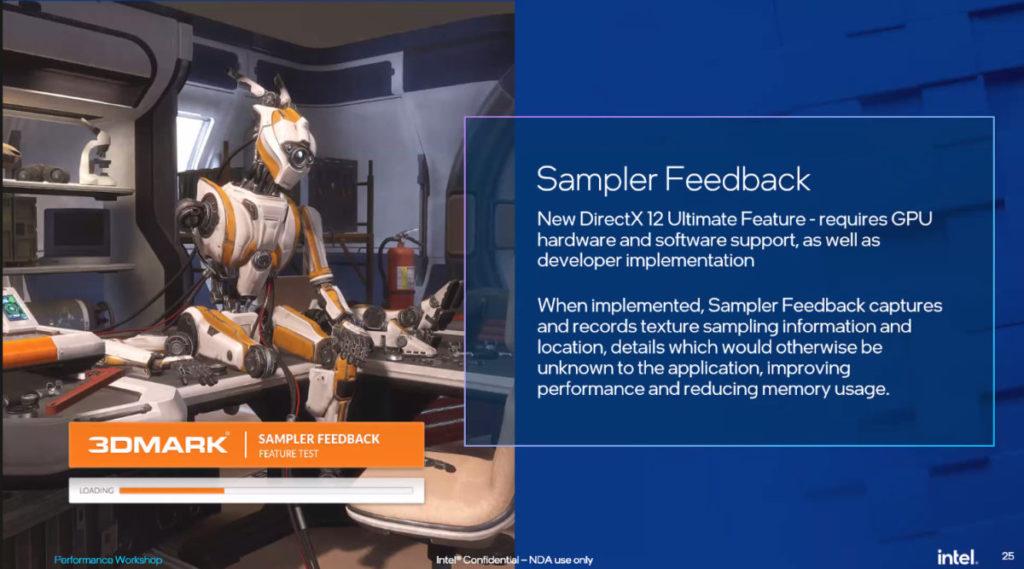 11 代 Core 內建繪圖晶片可支援 DirectX 12 Ultimate 的 Sampler Feedback 功能。