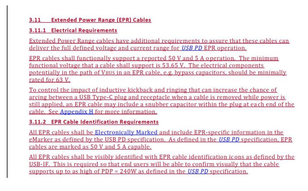 USB-C 2.1 規格書裡新增有關 EPR 的內容。