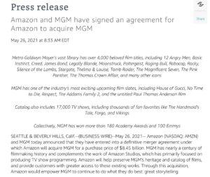 Amazon 在官方網站宣布收購美高梅的消息。