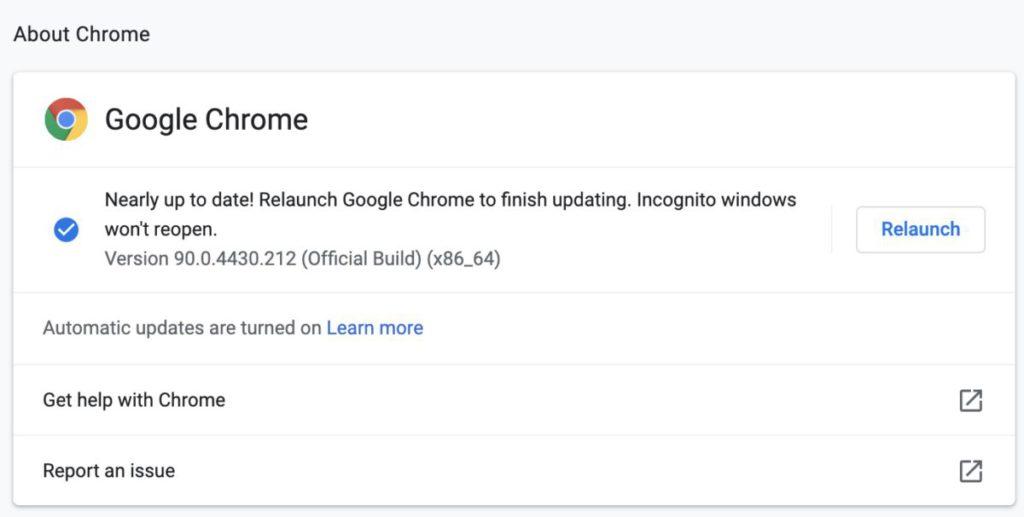 想主動更新的話,可以點擊瀏覽器右上方的「 ⋮ 」圖示,然後選擇「說明>有關 Google Chrome 」,待完成更新後按「 Relaunch 」掣重新啟動 Chrome 即可。