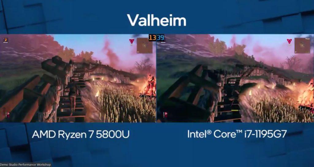 即場以 Valheim 遊戲作示範,最終 Intel 以 39fps vs 13fps 大勝 AMD。