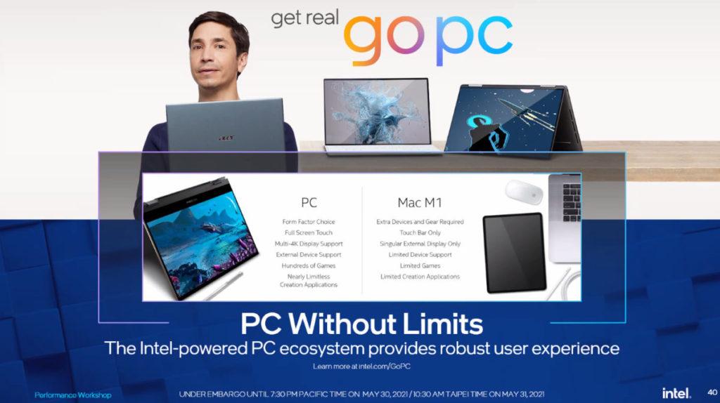Intel 表示 PC 在擴充性能較 Mac M1 為強。