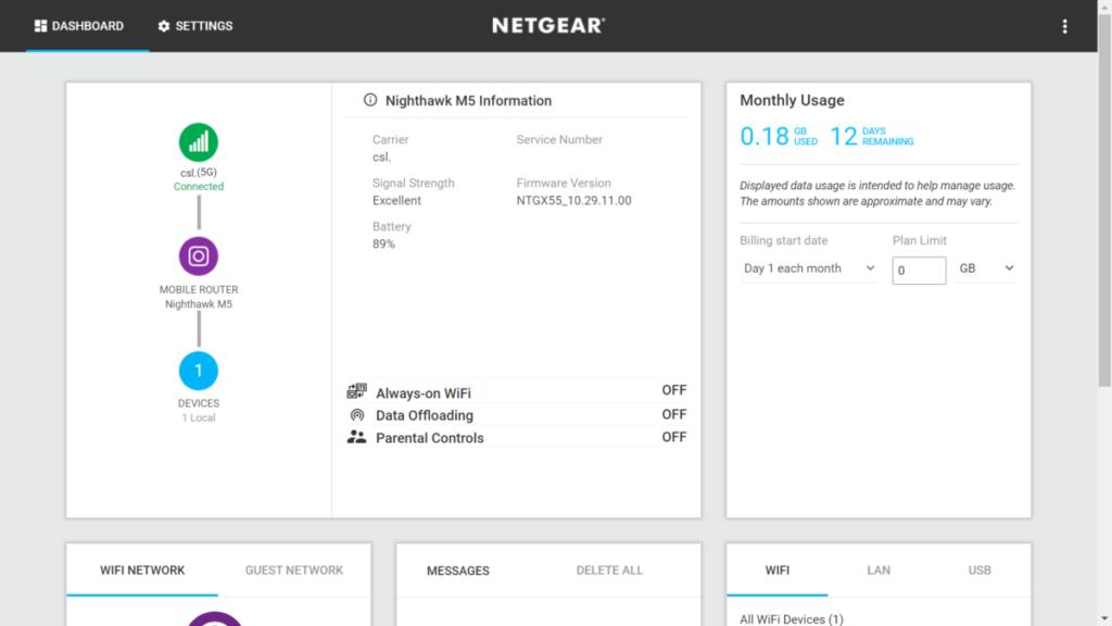 網頁管理介面清楚顯示流動網絡狀態、流量、連線裝置、電量等資訊。
