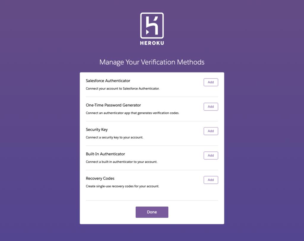 Heroku 現時已提供 SMS 以外其他多種多因素驗證的方法。