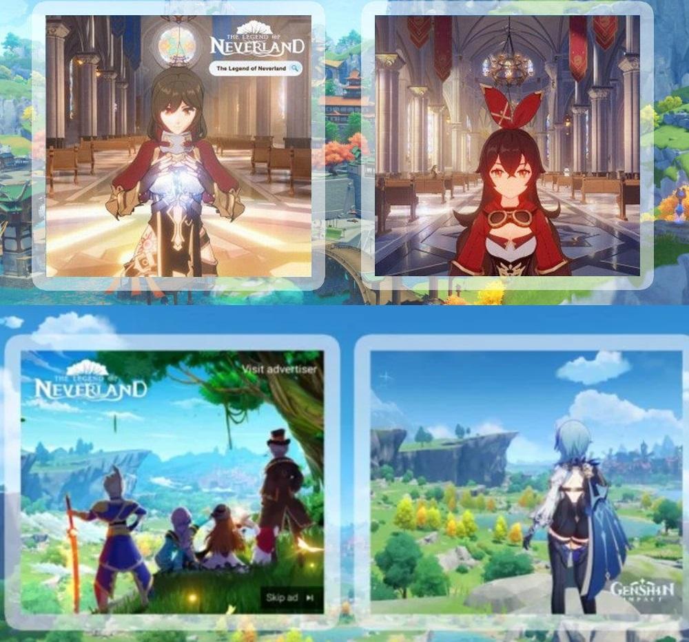 左邊為《夢幻島傳說》,右邊為《原神》,明顯可見下方的插圖構圖上十分相似。