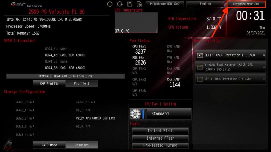1. 以 ASRock 主機板為例,按著 F2 掣開機進入 UEFI ,並進入 Advanced Mode 進階模式;