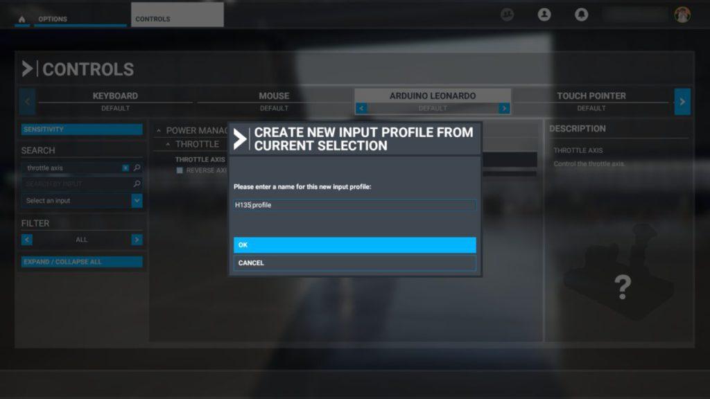 3. 設定任意名字來建立新控制器 Profile ,按 OK 完成設定;