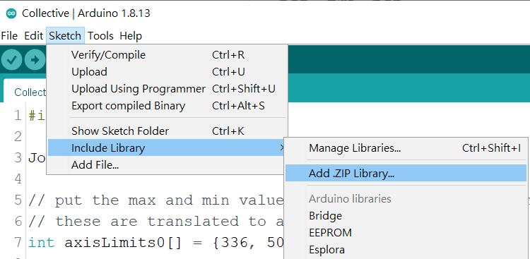 3. 在 Arduino IDE 的主選單中選「 Sketch > Include Library > Add .ZIP Library 」,然後選擇下載回來的「 ArduinoJoystickLibrary-2.0.7.zip 」檔案將它匯入。
