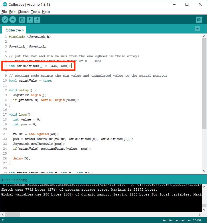 4. 修改程式第 7 行,以抄下的讀數取代 0 和 1023 兩個數值。