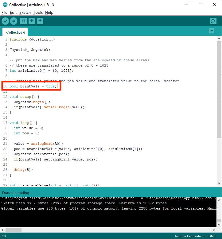 1. 修改程式第 10 行,設定為 ture 以輸出電位器讀數,然後將程式編譯上載到開發板。