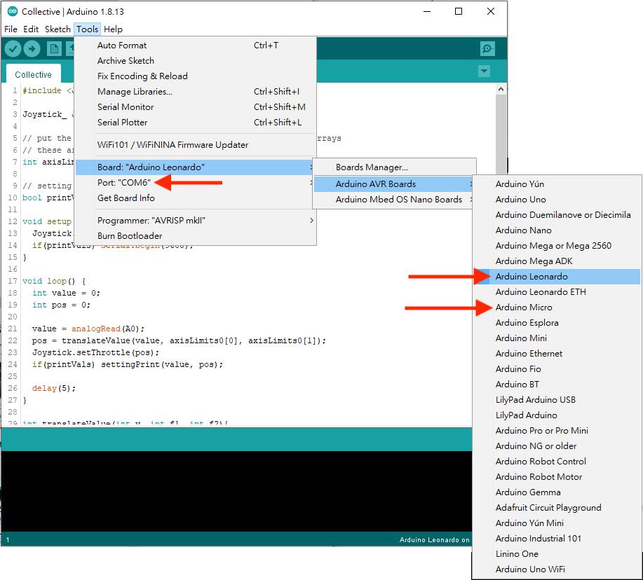 1. 將 Arduino Leonardo / Micro 以 micro USB 線連接到電腦,開啟 Arduino IDE ,確認「 Tools > Board 」選擇了你所選用的開發板,並選擇正確連接埠;