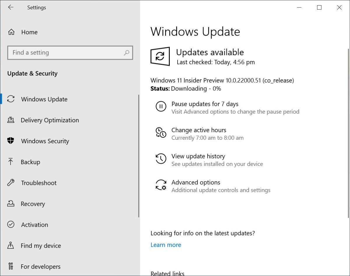 10. 回到「 Update & Security > Windows Update 」重新檢查有沒有更新的話,就會發現有 Windows 11 Insider Preview 10.0.22000.51 (co_release) 的更新,更新時間約需 1 小時,完成後會詢問你何時重啟電腦;