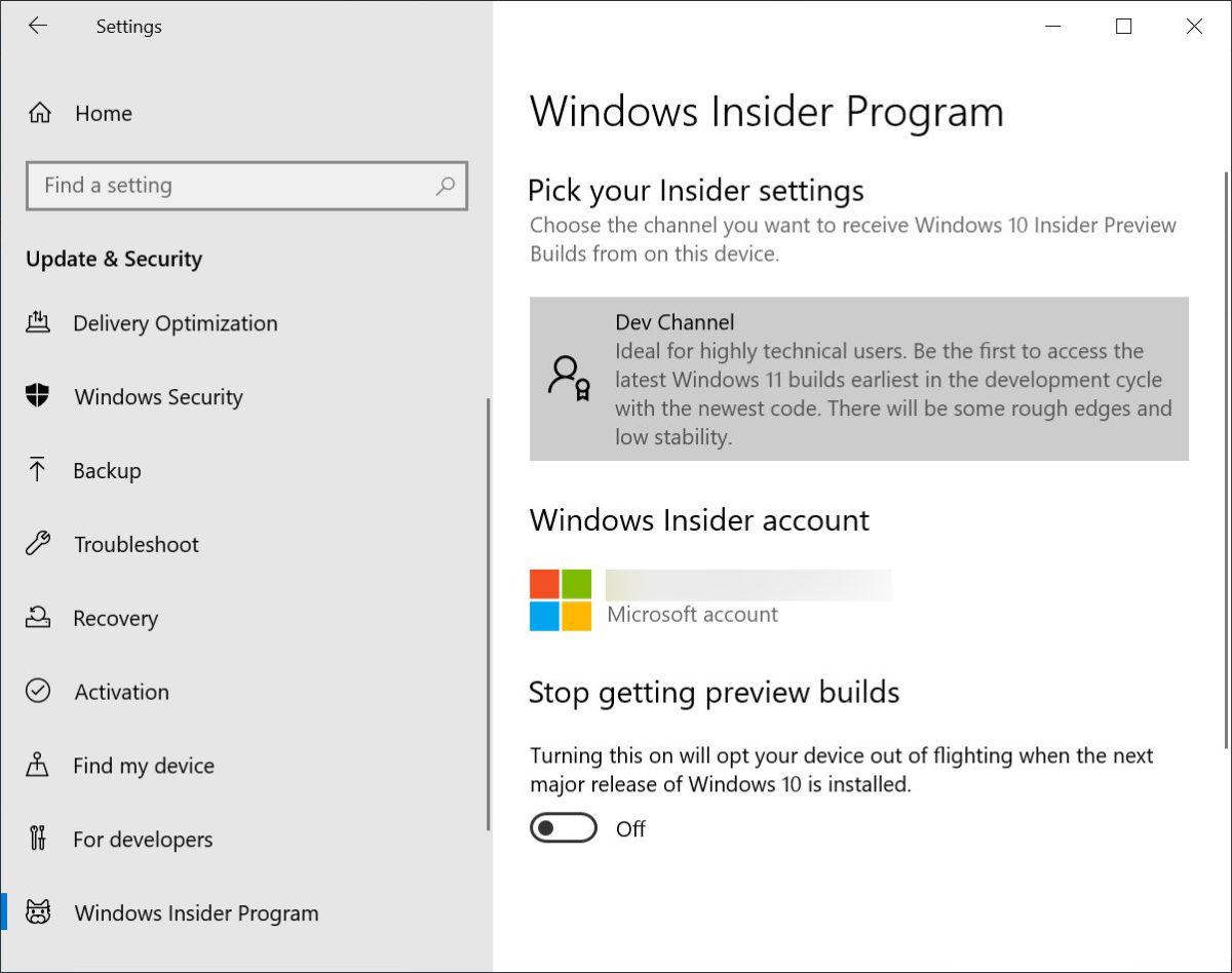 9. 重啟後再回到控制台的「 Update & Security > Windows Insider Program 」,就會見到已設定頻道和帳戶,你可以再次選擇不同頻道,或者開啟「 Stop getting preview builds 」以暫停接收預覽更新。但要退出測試計劃,就要清機重新安裝 Windows 10 了;