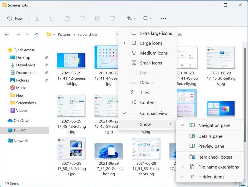新的檔案總管視窗採用圓角設計,移除了 Ribbon 選單列,而主選單就加以強化,可選擇 Compact View 等。