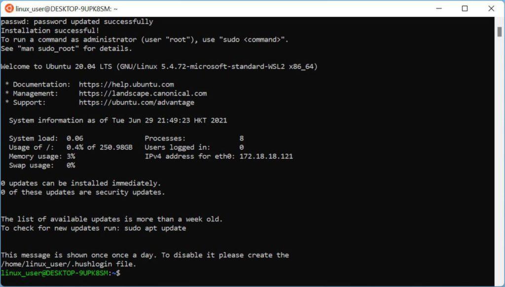 Linux Subsystem 也可以順利安裝使用。