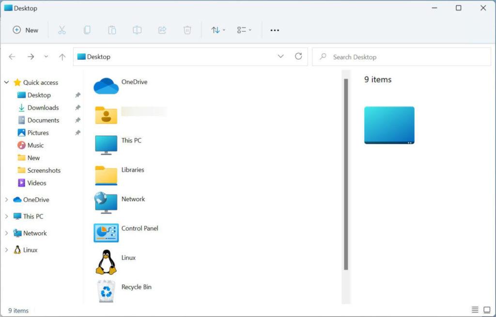 在桌面按 Ctrl-N 可以打開舊桌面資料夾,裡面可以呼叫舊版控制台和 Linux Subsystem 。