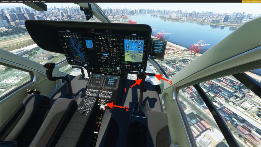 直升機 3 個基本控制面: 1. 迴旋杆 、 2. 總距杆 、 3. 腳蹬