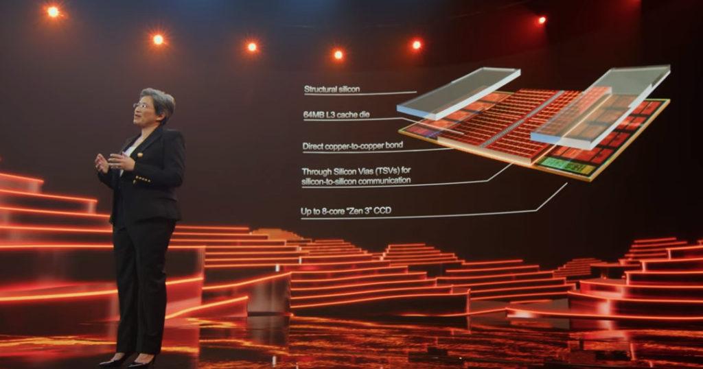 圖中可見 3D V-Cache Technology 在 Zen3 Die 上加入 64MB Cache Die