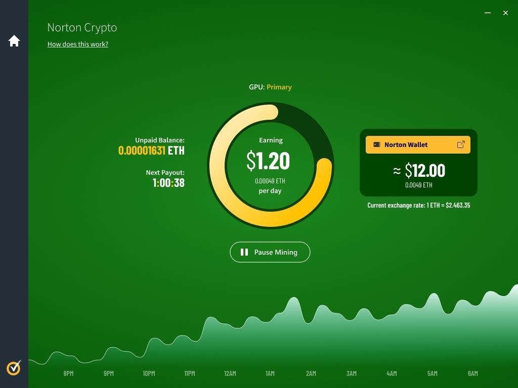 Norton Crypto 讓用戶可以追踪和轉移挖掘到的加密貨幣到雲端的 Norton 加密錢包,防止電腦故障所造成的損失。