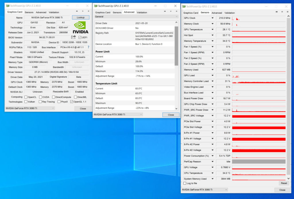 《 GPU-Z 》顯示 RTX 3080 Ti 的各項資料