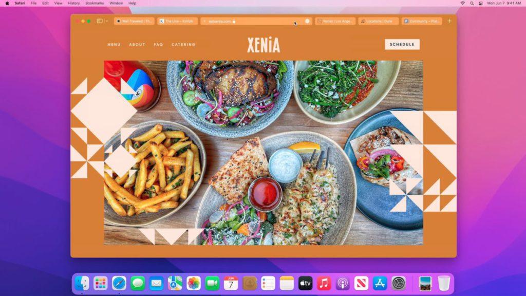 新設計的 Safari 很簡約,而且會依據網頁風格變色。