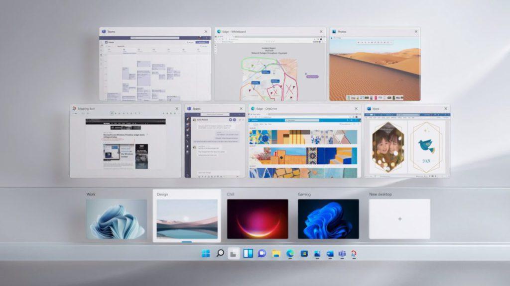 新的虛擬桌面設定介面,用戶可以在桌面間調動程式視窗和設定帶景圖像。