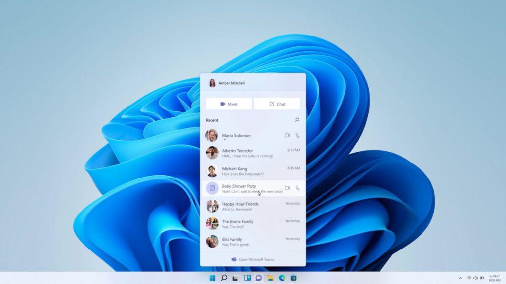 Windows 11 內置 Microsoft Teams 提供比 Skype 更方便而免費的聯繫。
