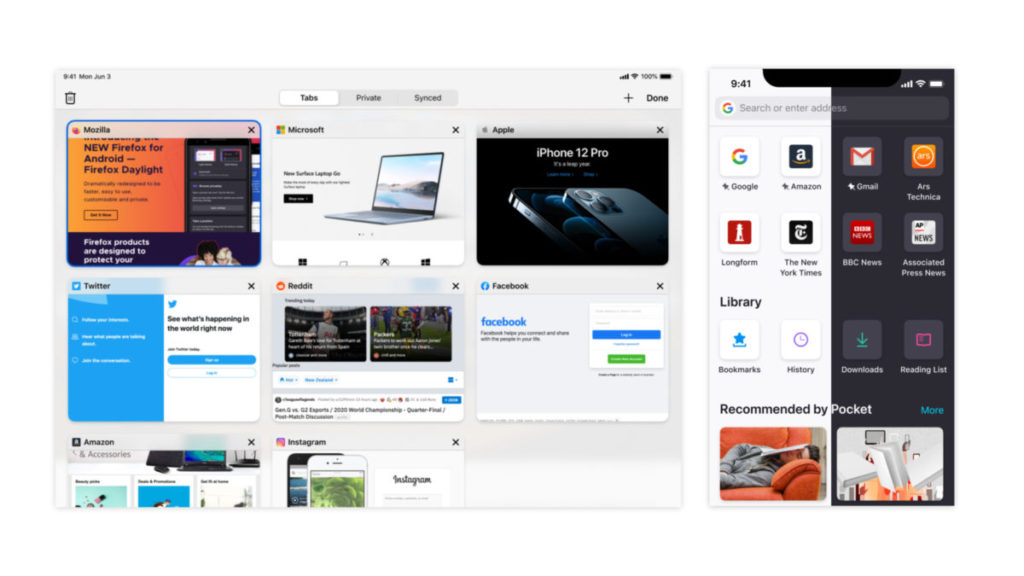 iOS 版 Firefox 亦經過重新設計。