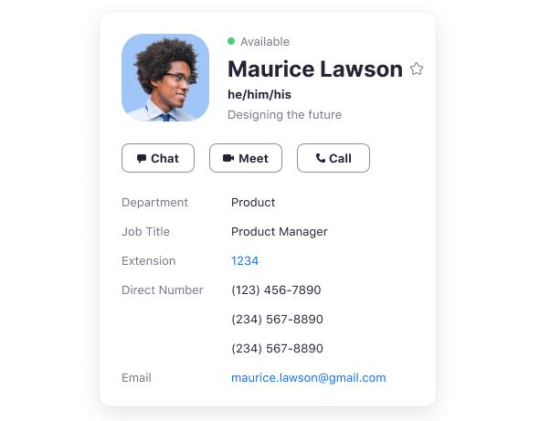 代名詞會顯示在個人資料卡、聯絡人標籤和會議期間的個人頭像上。